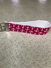 Key Ring Fob - Wristlet Style - Hot Pink with White Anchors - Summer Classic