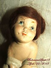 RARE ANTIQUE 1900''s CHERUB BISQUE MOHAIR HAIR COLLECTIBLE DOLL
