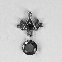 silver stud stainless steel black crystal SINGLE crown earring