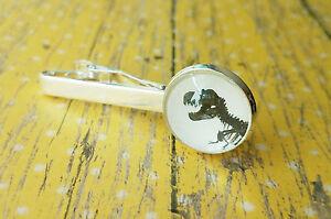 18 mm Black and White T.Rex dinosaur Fossil bone tie clip ,Mens Accessories