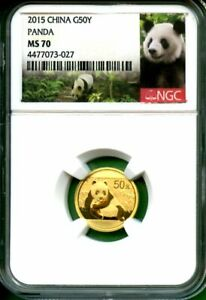 PANDA  GOLD  CHINA    2015  NGC MS 70  50 YUAN  GOLD  1/10  OZ