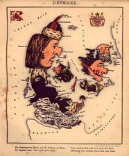 FUN ATLAS Danimarca kongeriget Danmark Vintage Antico Vecchio Colore Colore Repro mappa