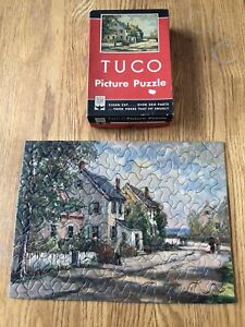 """Vintage Tuco Deluxe Picture Puzzle Complete, """"Seacoast Lane""""."""
