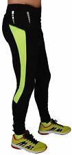 More Mile Mens Thermal Running Tights Black Yellow Fleece Lined Winter Run Tight