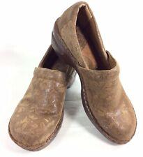 Women's BOC Born Concept Comfort Clogs Size 9.5 Brown Leather Work Shoes
