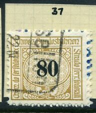 SWITZERLAND;  1913-30s early RAILWAY PARCEL stamp fine used  80c. Type  37