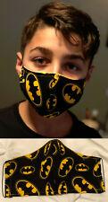 Batman Logo Washable Adult or Kids Handmade Designer Face Mask w/ FILTER POCKET