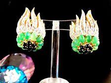 EXTRAORDINARY JOSEPH MAZER JOMAZ JADE SAPPHIRE GLASS CABOCHON FLORAL EARRINGS