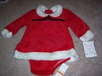 ADORABLE BABY GIRL VELOUR XMAS SANTA DRESS SET 12M NEW *NWT $24 LITTLE BY LITTLE