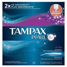 Tampax Pearl Plastic Unscented Tampons, Ultra Absorbency, 18-Count (Pack of 12)