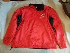 NHL New Jersey Devils Majestic Reversible Half Zip Pullover Jacket Size Large