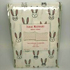 Isaac Mizrahi Easter Bunny Rabbit Faces Pillow Cases Cool Bunny Two Standard Sz