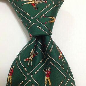 DUNHILL Men's 100% Silk Necktie ITALY Luxury GOLFING Green/Multi-Colored EUC
