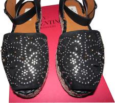 $1095 Valentino Black Studded Suede Espadrille  Slingback Sandal Wedge Shoe 37