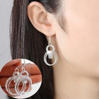 Fashion Women 925 Sterling Silver Filled Jewelry Three Loop Hoop Dangle Earrings