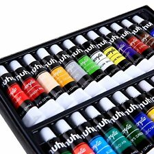Ohuhu 24 Tube Artist's Acrylic Paint Set +6 Brush Great for Canvas Panels Boards