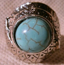 Tibetan Silver and Chalk Turquoise Ring with Aztec Style Designs (Size R)