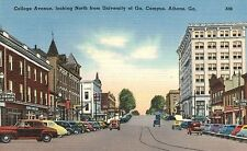 Athens,GA.College Ave.Looking North from University of Georgia,Linen,c.1940s