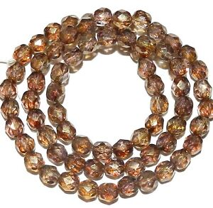 """CZ3135 Copper Luster Czech Fire-Polished 6mm Faceted Round Glass Beads 16"""""""