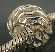 925 STERLING SILVER intricate WAVE Design European slide on BEAD CHARM