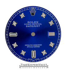 Custom Blue Genuine Diamond Dial to Fit Rolex Datejust Quickset 36mm Model
