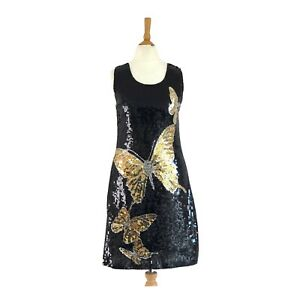 Heaven Black Gold Silver Sequin Butterfly Design Party Dress Size UK 8/10  S/M