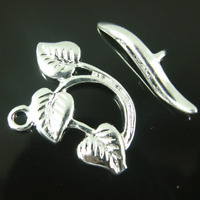 Clasps, Toggle 3 Leaf Silver Plated jewellery making Finding Clasp x 10 Set K378