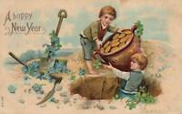 VINTAGE HAPPPY NEW YEAR GOLD COINS BOYS with BURIED TREASURE EMBOSSED POSTCARD