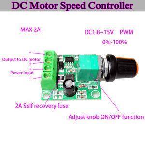 Low Voltage DC 3V 5V 6V 9V 12V 2A PWM DC Motor Pump Speed Controller Regulator