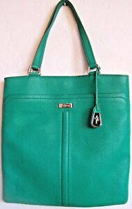COLE HAAN Large Kelly Green Pebbled Leather Shopper Tote Shoulder Bag 14x14