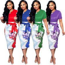 Womens Casual Dresses Midi Skirt Office Wear Short Sleeve Bodycon Cocktail Slim