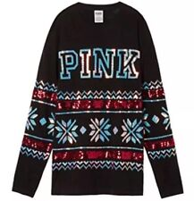 Victoria's Secret PINK BLING Long Sleeve Campus Tee Black Sequin Holiday XS NEW