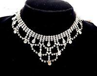 Vintage Rhinestone dangle necklace choker in Art Nouveau style.