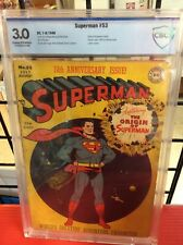 SUPERMAN #53 Origin of Superman CBCS 3.0 Cream/Off White Pages Take a Look