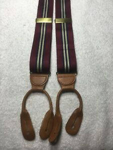 MENS SUSPENDERS ALL SILK BUTTON ONS BURGUNDY WITH BLUE