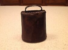"""Vintage Metal Cow Animal Bell Working Condition Heavy Metal Intact Rings 4"""" tall"""