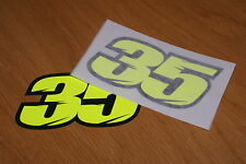 Cal Crutchlow Number 35 Race Numbers - Flo Yellow - (Pair)