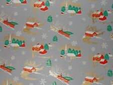 Vtg Christmas Wrapping Paper Gift Wrap 1940 Nos Ww2 Church Covered Bridge Farm