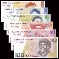 Kyrgyzstan Set 6 PCS Banknotes (1 5 10 20 50 100 Som ) , P-7 8 9 10 11 12, UNC