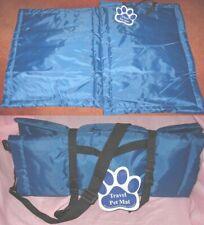 New listing Travel Pet Mat with Carrying Strap Blue Camping Car Office New