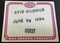 06/29/84 Bill Graham Presents David Gilmour Backstage Guest Pass Pink Floyd
