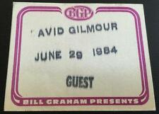 06/29/84 Bill Graham Presents David Gilmour Backstage Guest Pass Pink Floyd