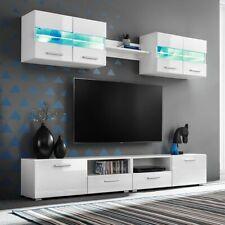 vidaXL Tv Wandmeubelset 5-delig met LED Verlichting Hoogglans Wit Tv Meubel