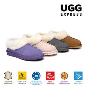 UGG Unisex Moccasin Homey Wool Collar Ankle Slippers Australian Sheepskin Lining