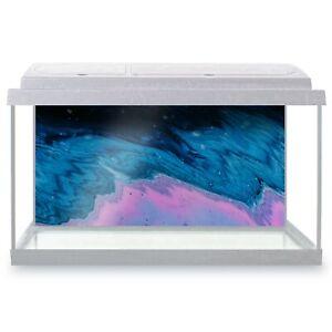 Fish Tank Background 90x45cm - Neon Blue Pink Modern Ink Art  #45844