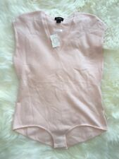New JCrew Collection Cap-sleeve Bodysuit Featherweight Cashmere Pink Sz S G2896