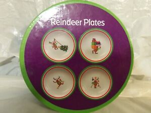 NEW - Set Of 4 Reindeer Whimsical Christmas Plates In Box