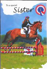 Per una sorella speciale cartolina di compleanno, Salto Cavallo, Equitazione Tema di qualità superiore (B6)