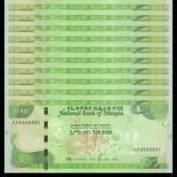 Lot 10 PCS, Ethiopia 10 Birr, 2020, P-New, Banknotes, UNC