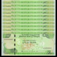 Lot 10 PCS, Ethiopia 10 Birr, 2020, P-New, Banknotes, UNC